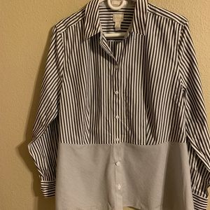 Chico's no iron gray striped top size 2 or large